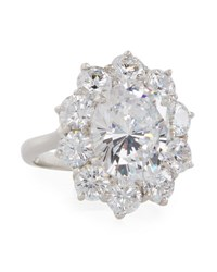 Fantasia Oval Cubic Zirconia Ring W Surrounding Crystals White