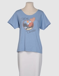 American Retro Short Sleeve T Shirts Sky Blue