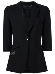 Philipp Plein Embroidered Blazer Black
