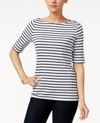 Charter Club Pima Cotton Striped Boat Neck Tee Only At Macy's Blue White