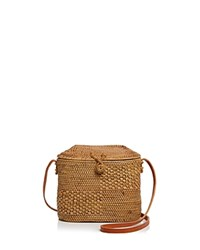 Street Level Straw Crossbody Bucket Bag Tan Brass