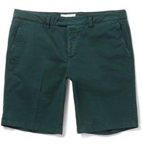 Ami Alexandre Mattiussi Stretch Cotton Twill Shorts Forest Green