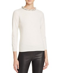 Bloomingdale's C By Embellished Neck Cashmere Sweater Snow