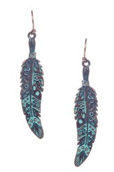 Sparkling Sage Detailed Feather Drop Earrings Blue