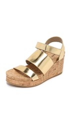 Dkny Lora Cork Wedge Sandals Gold