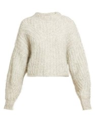 Isabel Marant Inko Knitted Mohair Sweater Light Grey