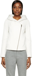 Helmut Lang Ivory Leather And Jersey Wither Hooded Jacket