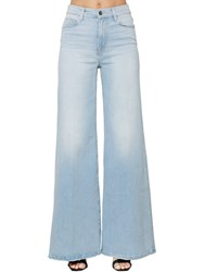 Frame High Rise Wide Leg Cotton Denim Jeans Light Blue