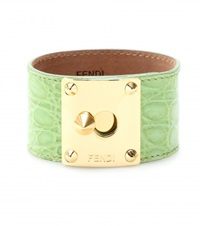 Fendi Crocodile Leather Cuff Green