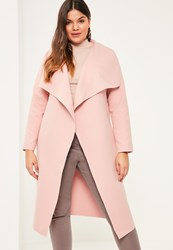Missguided Plus Size Pink Oversized Waterfall Duster Coat Mauve