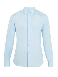 Prada Single Cuff Cotton Poplin Tuxedo Shirt Blue