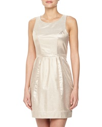 Yoana Baraschi Gold Party Sleeveless Snake Print Lurex Dress Rose Gold