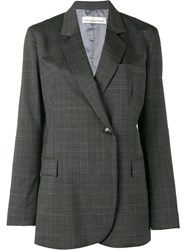 Golden Goose Deluxe Brand Check Double Breasted Blazer Grey