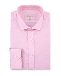 English Laundry Woven Check Print Dress Shirt Pink
