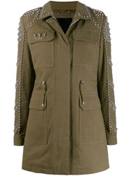 Philipp Plein Skull Embellished Parka Coat Green