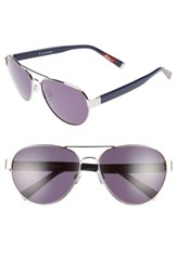 Ed Ellen Degeneres Women's 62Mm Oversize Aviator Sunglasses Silver Blue