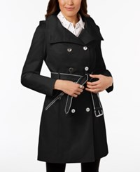 Guess Hooded Belted Double Breasted Trench Coat Black