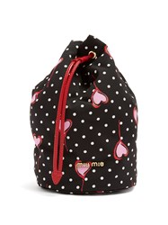 Miu Miu Heart Print Nylon Pouch Black Multi