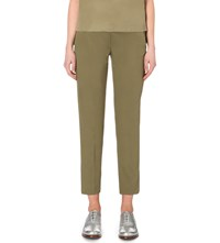 Sportmax Slim Tapered Stretch Cotton Cropped Trousers Khaki