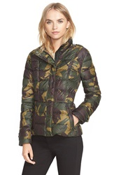 Burberry 'Dalesbury' Camo Print Down Jacket Forest Green