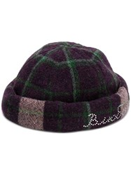 Natasha Zinko Plaid Pattern Hat Purple