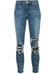 Amiri Ripped Super Skinny Jeans Blue