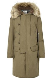 R 13 R13 N 3B Oversized Faux Fur Trimmed Cotton Parka Army Green