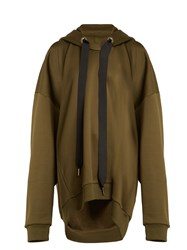 Marques Almeida Oversized Hooded Cotton Blend Sweatshirt Khaki