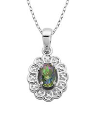 Lord And Taylor June Birthstone Sterling Silver Necklace Green