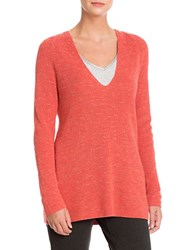 Nic Zoe Plus V Neck Textured Long Sleeve Sweater Spice Berry
