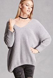 Forever 21 Ribbed Fleece V Neck Sweater