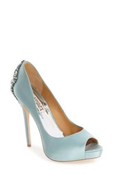 Badgley Mischka Women's 'Kiara' Crystal Back Open Toe Pump Blue Radiance Satin