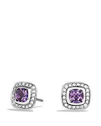 David Yurman Petite Albion Earrings With Amethyst And Diamonds Silver Purple