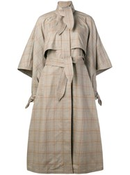 Zimmermann Unbridled Cape Tie Trench Coat Brown