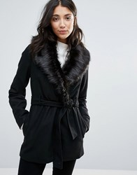 Brave Soul Faux Fur Collar Belted Coat Black