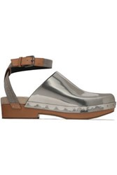Brunello Cucinelli Bead Embellished Smooth And Mirrored Leather Clogs Silver