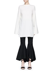 Ellery 'Purify' Flared Sleeve Ruched Side Top White