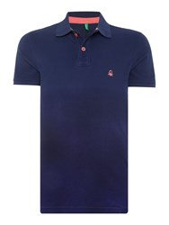 United Colors Of Benetton Dip Dye Short Sleeve Polo Shirt Navy