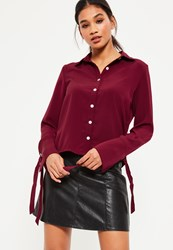 Missguided Red Eyelet Cuff Shirt