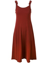 Twin Set Bow Strap Dress Women Polyester Viscose M Red