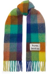Acne Studios Valley Checked Fringed Knitted Scarf Blue