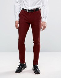 Asos Super Skinny Suit Trousers In Neppy Jersey Burgundy Red