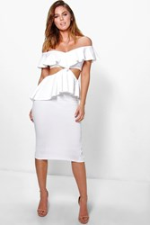 Boohoo Frill Off Shoulder Peplum Midi Dress Ivory