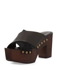 Charles David Mania Strappy Suede Leather Sandal Black