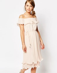 Oasis Pleated Ruffle Bardot Midi Dress Nude Pink