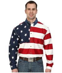 Roper Stars Stripes Pieced Flag Shirt L S Red Men's Clothing