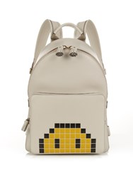 Anya Hindmarch Pixel Smiley Mini Leather Backpack Grey Multi