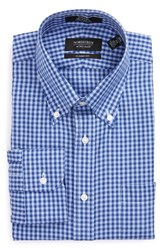 Nordstrom Men's Big And Tall Men's Shop Classic Fit Non Iron Gingham Dress Shirt Blue Marine