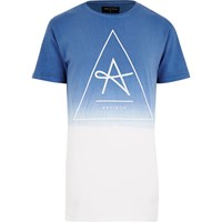 Antioch River Island Mens Grey Triangle Print Dip Dye T Shirt