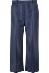 Versace Cropped Striped Wool Wide Leg Pants Navy